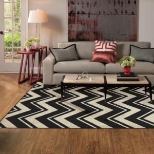 Lascala Chevron Striped Rug   Black/White By Affordable Rugs For Any Space  On