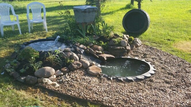 Repurposed tractor tire pond