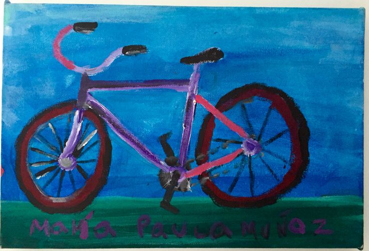 Bicicleta  50x30 Óleo al agua sobre lienzo Objeto multicolor
