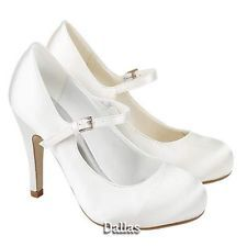 LADIES WEDDING SHOES WOMENS HIGH HEELS PROM SATIN BRIDAL WHITE IVORY COURT SHOES