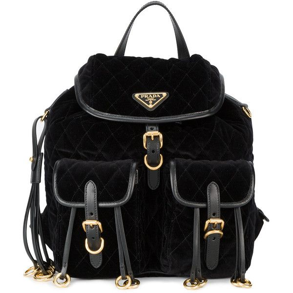 Prada embellished quilted backpack ($1,970) ❤ liked on Polyvore featuring bags, backpacks, black, daypack bag, quilted backpack, prada bags, prada and day pack backpack