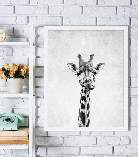 Nursery Room Art Giraffe Print Grey Nursery Decor by CocoAndJames