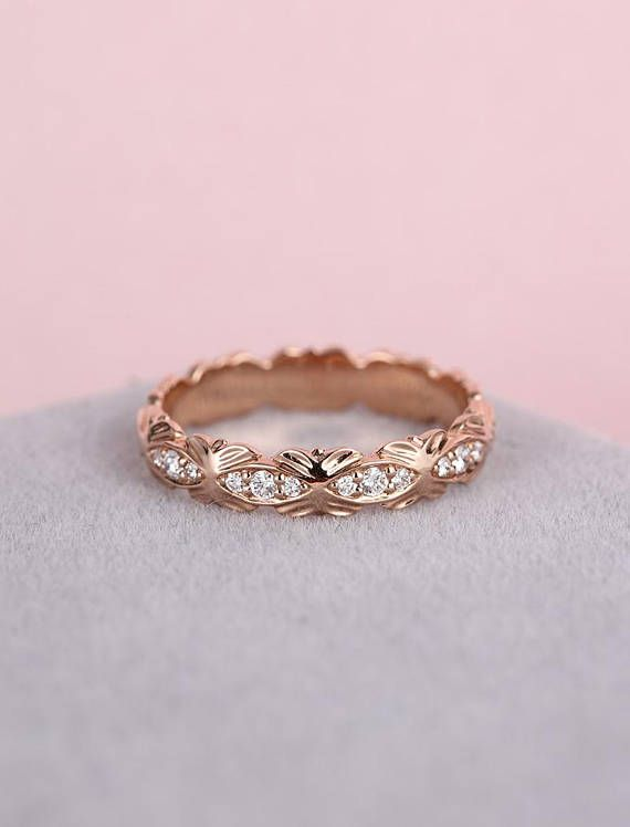 Black Friday 30 Off Unique Diamond Rose Gold Wedding Band Engagement Ring Pinterest Rings And