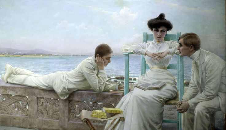 Reading by the Sea (c.1910). Vittorio Corcos (Italian, 1859-1933).Oil on canvas. The innocuously titled but broodingly sensual work shows that Corcos, who painted many conventional portraits, also...