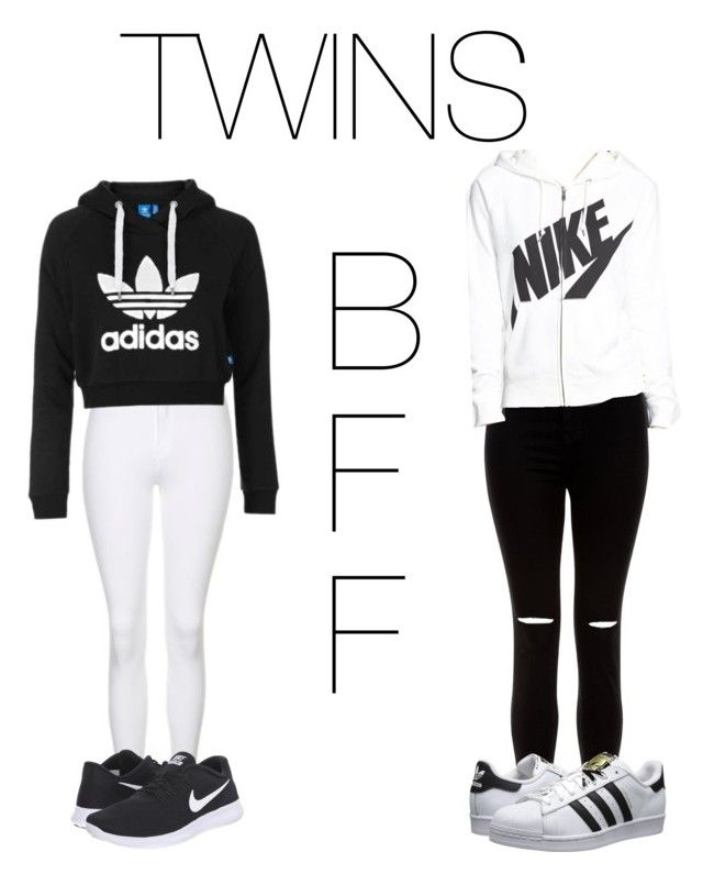 """""""Best friends twinning"""" by mikayla714 on Polyvore featuring New Look, Topshop, NIKE and adidas Originals"""