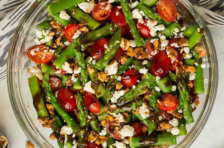 Salad ingredients:  1 bunch of fresh asparagus  1 pint of cherry tomatoes (I used a mix of colors)  1 Haas avocado, ripe    Dressing ingredients:  1/4 cup extra virgin olive oil  1 Tbsp whole grain Dijon mustard  juice of one lemon  kosher salt and