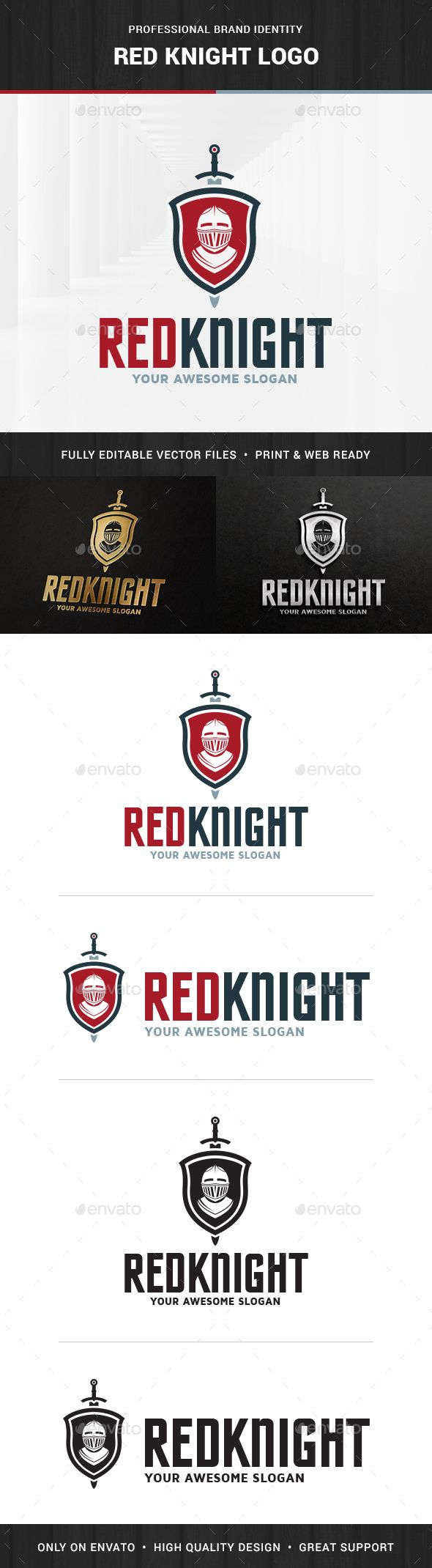 Red Knight Logo Template — Photoshop PSD #crest #ancient • Available here → https://graphicriver.net/item/red-knight-logo-template/15391655?ref=pxcr
