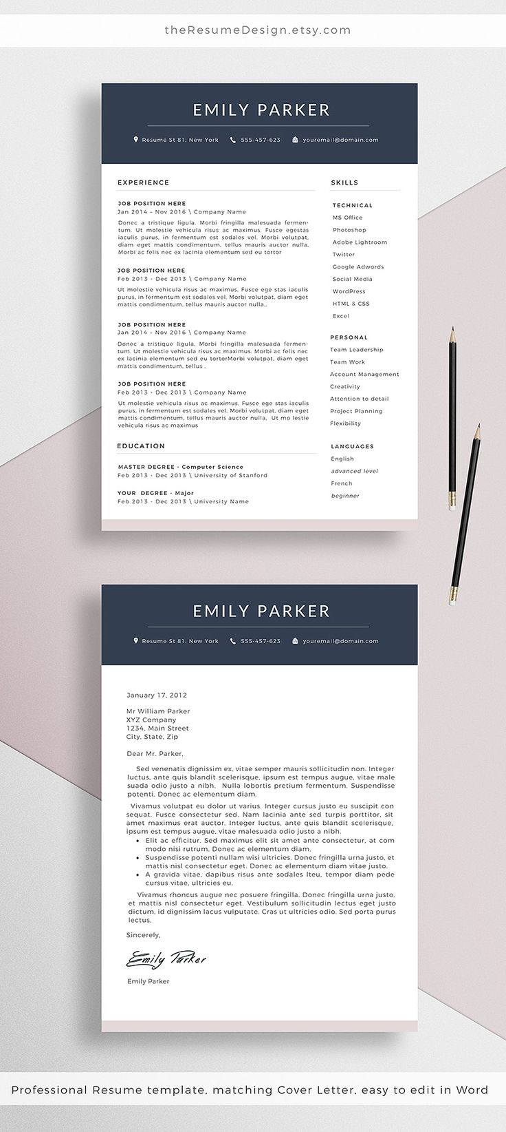 Our NEW professional Resume Template + Cover Letter for Word, creative CV design || Stand out from the crowd with our professional designs.