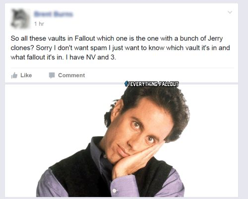 The Jerry clones  Join the fun on Facebook!http://ift.tt/1NdL8XX  fallout fallout 3 fallout 4 seinfeld seinfeld jerry gary twitter