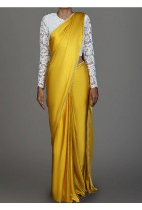 White Lace and Golden Yellow Satin Saree