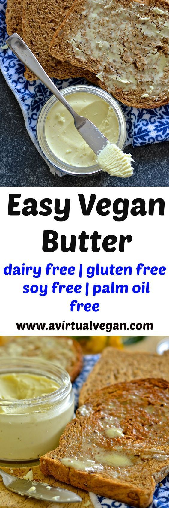 If you love butter but hate the ingredients in store bought dairy free versions then this vegan butter recipe is the answer to your prayers. It is dreamily smooth, rich & creamy & can be whipped up in minutes. It is also palm oil & emulsifier free & can be used in any way you would use real butter! via @avirtualvegan