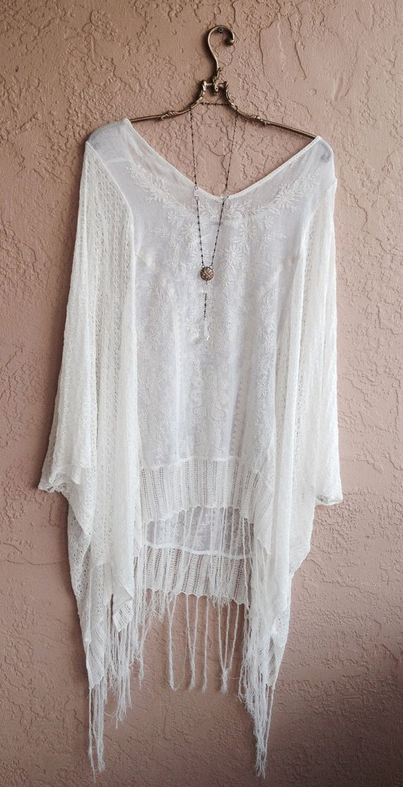 Gypsy White Beach Bohemian Tunic with Fringe