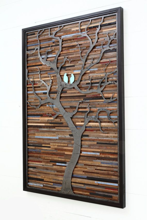 Wood wall art made of old barnwood and natural distressed steel. Different Sizes Available. Large wall art, wood wall sculpture