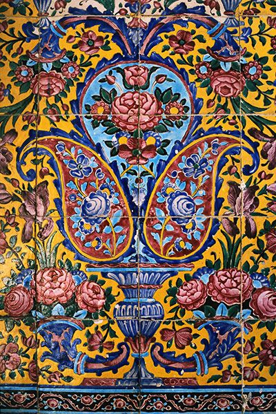 Paisley has a legacy in Iran. This sample is believed to date from somewhere between 1800-1899 and has been traced back to the Masjid-e Nasir-ol-Molk mosque in Shiraz.