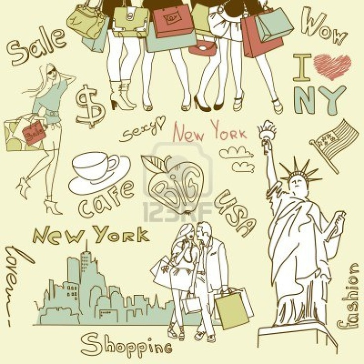 Winkelen in New York doodles Stockfoto