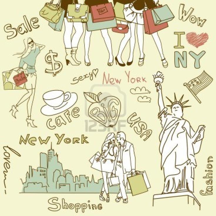 Winkelen in New York doodles Stockfoto