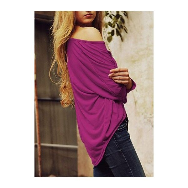 Rotita Oversized Loose Batwing Sleeve T Shirt ($18) ❤ liked on Polyvore featuring tops, t-shirts, purple, loose fit t shirts, print tees, pattern t shirt, long sleeve t shirts and oversized t shirt