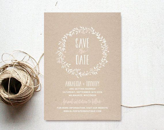 This listing is for a Rustic Wreath Wedding Save the Date PDF Instant Download. Purchase this listing to receive 2 high resolution invitation