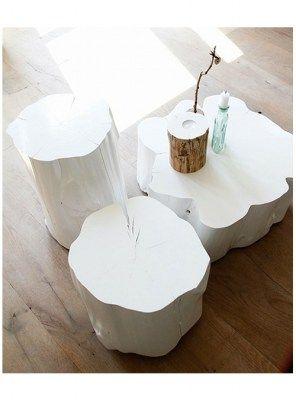 Tris tronchi white tavolino da salotto