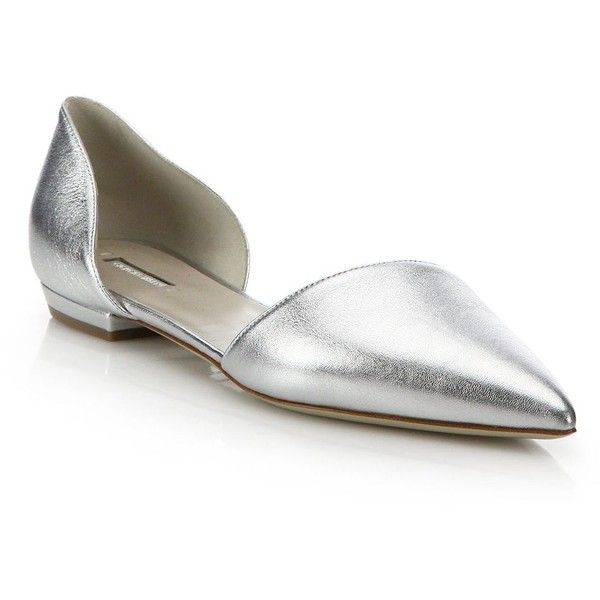 Giorgio Armani Metallic Leather D'Orsay Evening Flats ($625) ❤ liked on Polyvore featuring shoes, flats, apparel & accessories, silver, pointy toe flats, evening flats, evening shoes, metallic pointed toe flats and flat pumps