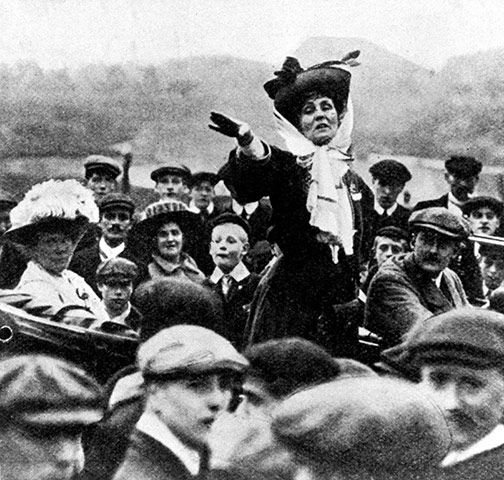 Emmeline Pankhurst  (1858-1928)  Pankhurst's slogan 'Deeds, not words' defined her life. We would have got the vote without her.