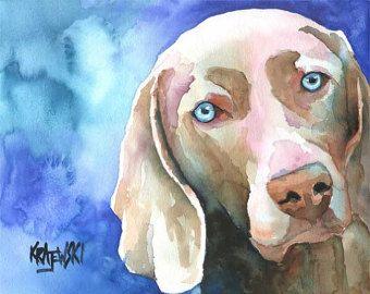Braque de Weimar chien Art Print  éd. Ltd signé chien