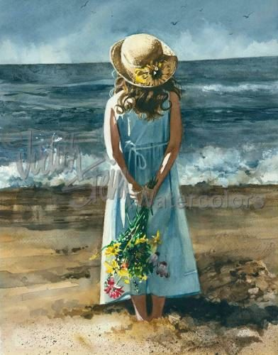 "BEACH Beach Girl in Blue Dress & Straw Hat, Flower Bouquet, Children Watercolor Painting Print, Wall Art, Home Decor, ""Watching the Storm"""