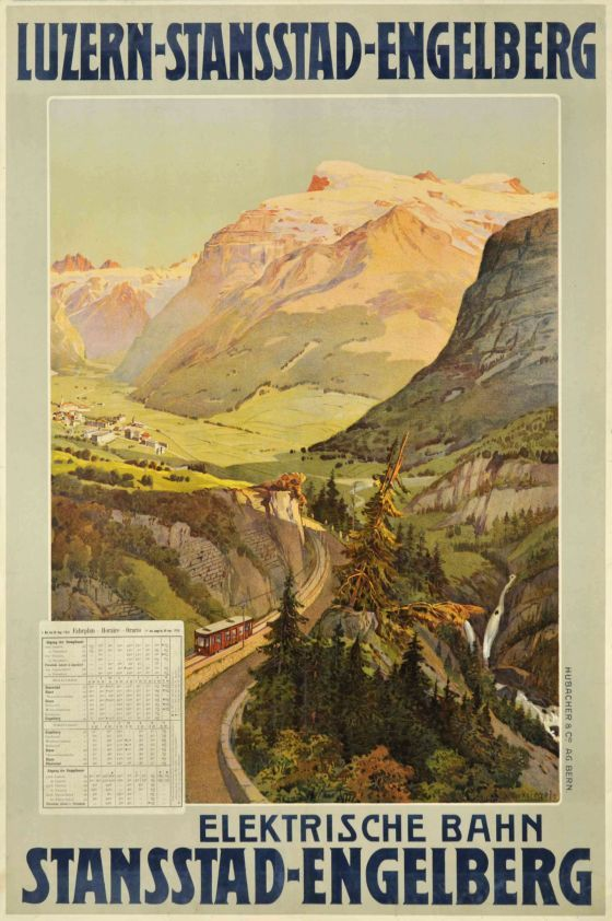 Luzern - Stansstad - Engelberg, Elektrische Bahn, time table 1910 by Reckziegel Anton / 1910. Classic Turn of the century Travel poster for the Luzern - Stansstad - Engelberg Railway Company in the Swiss Alps with the 1910 timetable