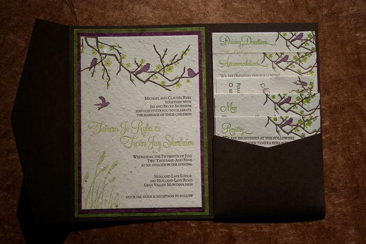 green and purple wedding invitations - Google Search