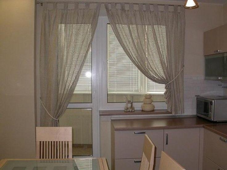 асимметричные шторы на кухню с балконом