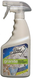 Black Diamond Stoneworks' Marble & Granite Polish Preserver protects counters, walls, bar tops and all natural stone surfaces.