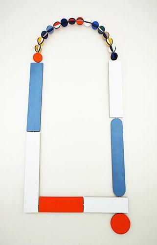 """""""Mondrian necklace"""" - Rebecca Hannon (laminate, silver, cable)"""