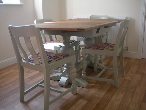 solid oak extending table painted in farrow and ball french grey shabby chic/far | eBay