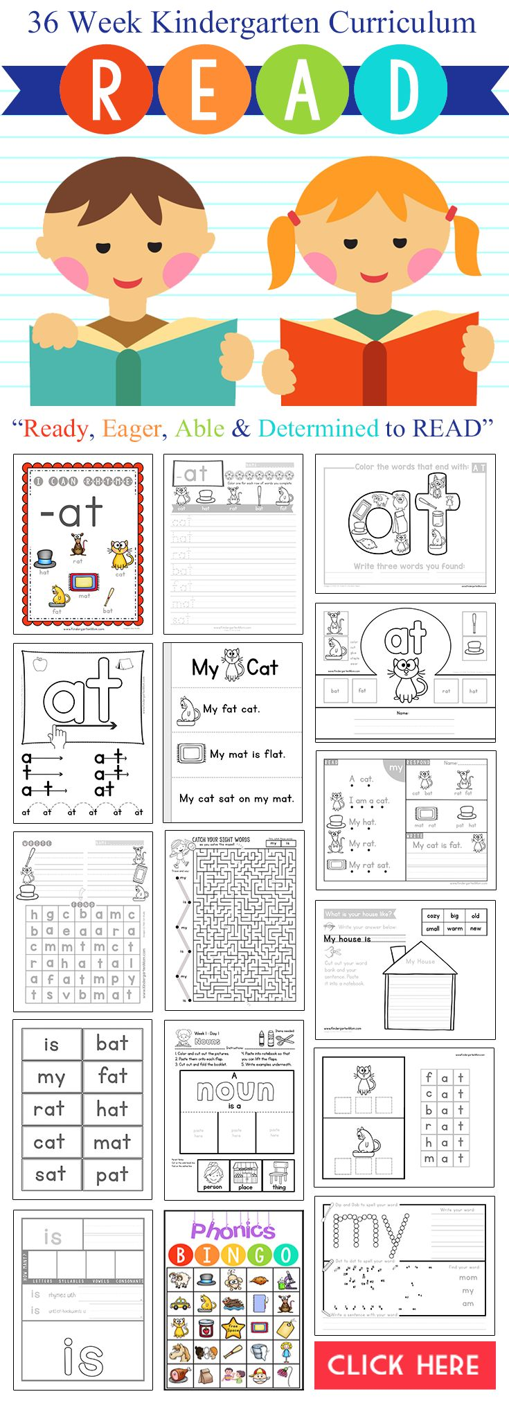 36 Week Kindergarten Reading Curriculum for only $25. R.E.A.D. Covers phonics, sight words, writing, grammar and more. Hands-on, Low-Prep, Instant Download