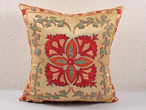 Handmade Suzani Pillow Cover MSP107-4. Free by BlackFigDesigns