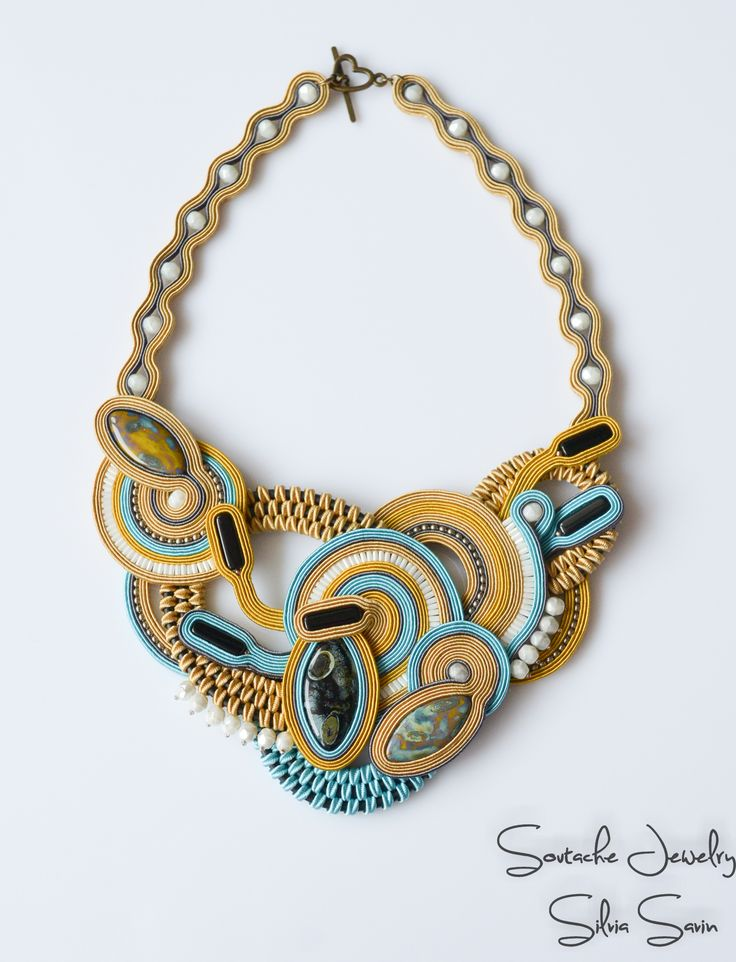 Soutache statement necklace with Preciosa beads and Toho