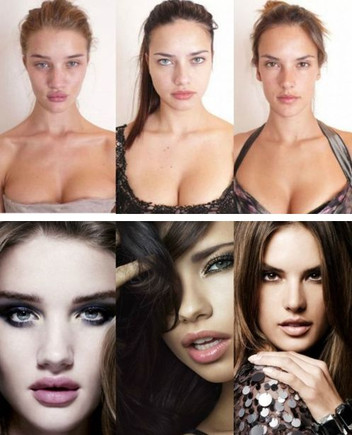 Whenever you're feeling a little down on yourself, just remember...Some who are considered to be the world's most beautiful women look just like normal girls before putting on makeup.