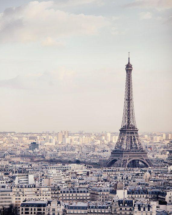 Eiffel Tower Print, Architecture, Paris Photography, Pale Blue, Pastel, Paris Decor, Travel, Cityscape - The Iron Lady