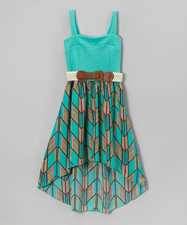 Look what I found on #zulily! Mint Chevron Belted Hi-Low Dress - Toddler & Girls #zulilyfinds