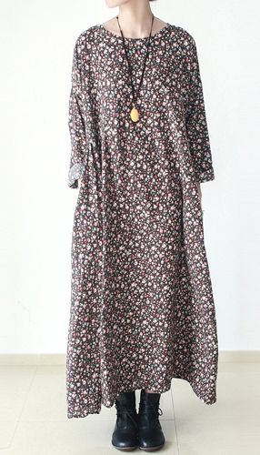 Brown floral cotton dresses long cotton caftans maxi dress fall winter dresses