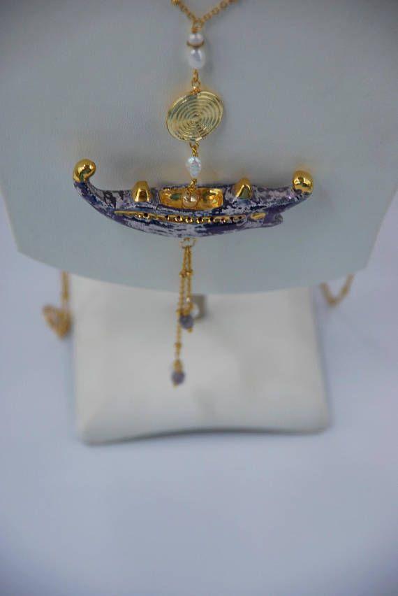 CollanaTrireme blu oro perle naturali agata