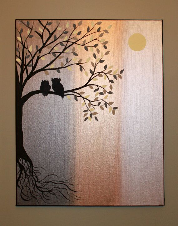 original abstract acrylic painting canvas roots tree owl silhouette metallic pewter bronze white gold owls branch leaves grey tan cream