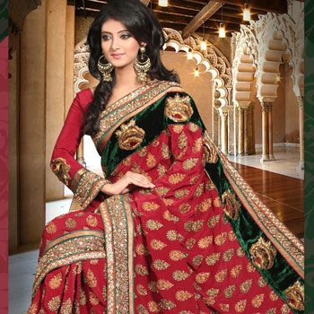 Maroon Faux Crepe Saree with Blouse Online Shopping: SLSSK3794