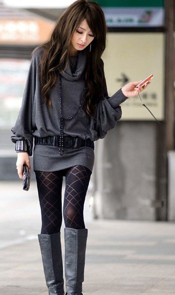 cute look for winter: Outfits, Fashion, Style, Clothing, Sweaters Dresses, Collars, Tights, Boots, Long Sleeve Dresses