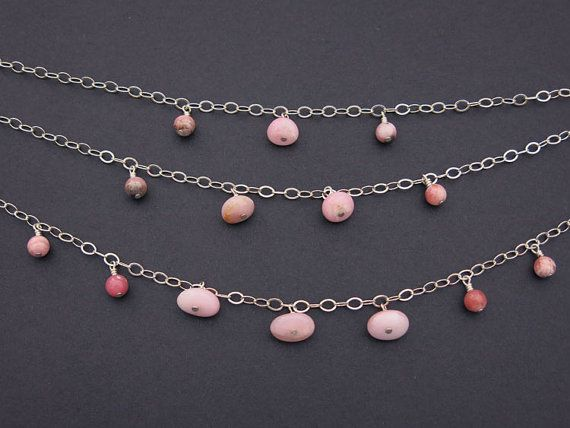 Pink Peruvian Opal & Sterling Silver Chain Multistrand Necklace