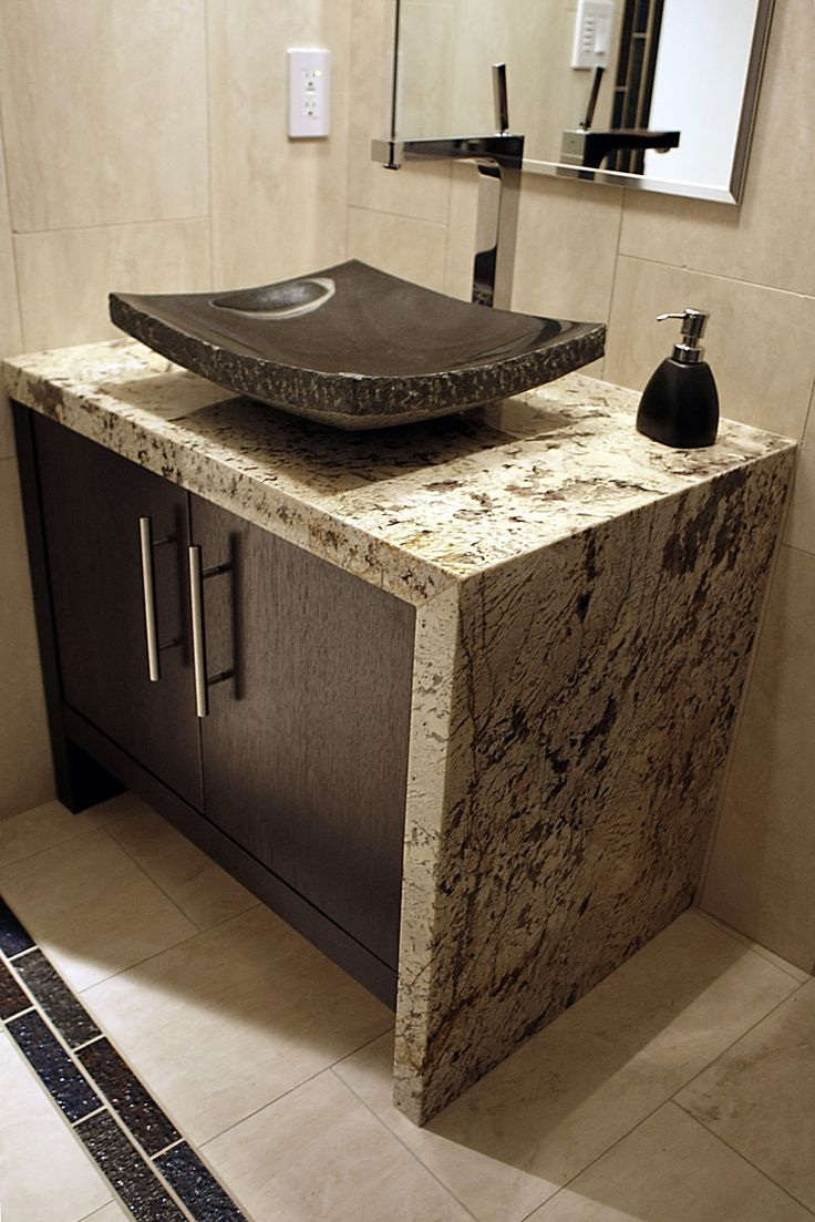 Stone Vanity Tops : Vanity top with mitred waterfall edge and vessel sink in