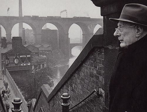 L S Lowry contemplating Stockport Love Lowry, grew up with his paintings and coming from the North of England they epitomise the history.