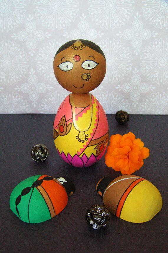 Pair of Devotees - Hand Painted Wooden Golu Dolls