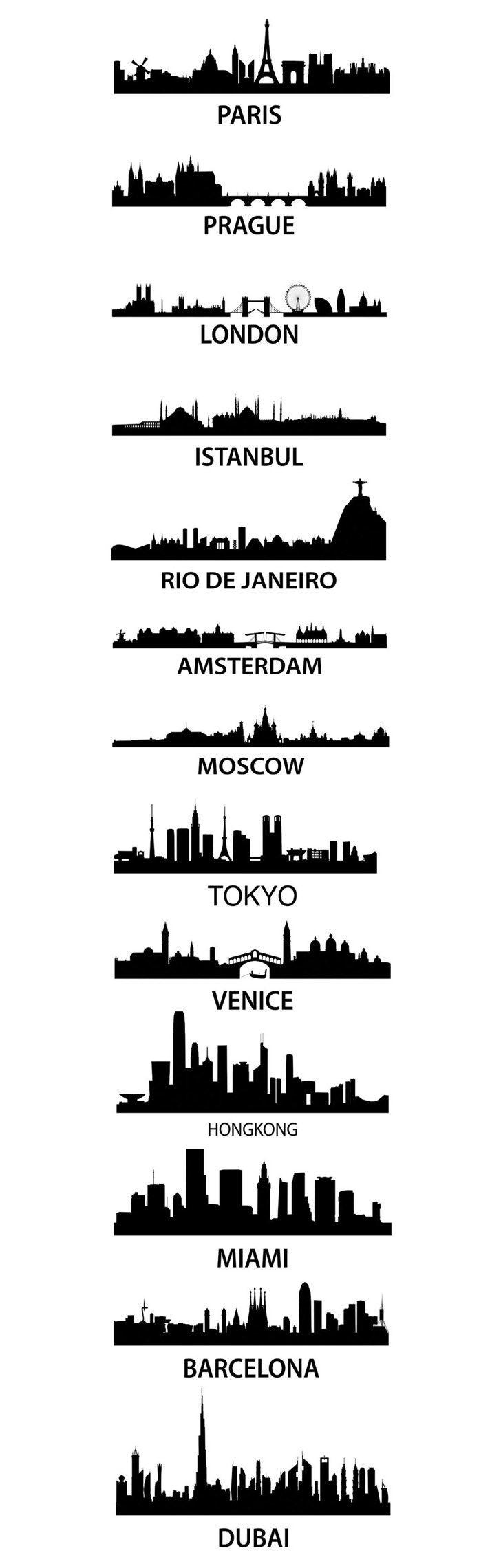 City Skyscape aka silhouette skyline of Paris, Parague, London, Istanbul, Rio De Janeiro, Amsterdam, Moscow, Tokyo, Venice, Hong Kong, Miami, Barcelona, an