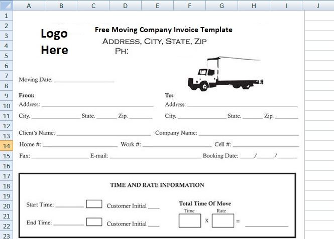 Free Moving Company Invoice Template Excelperks Invoice Template Moving Company Excel Templates